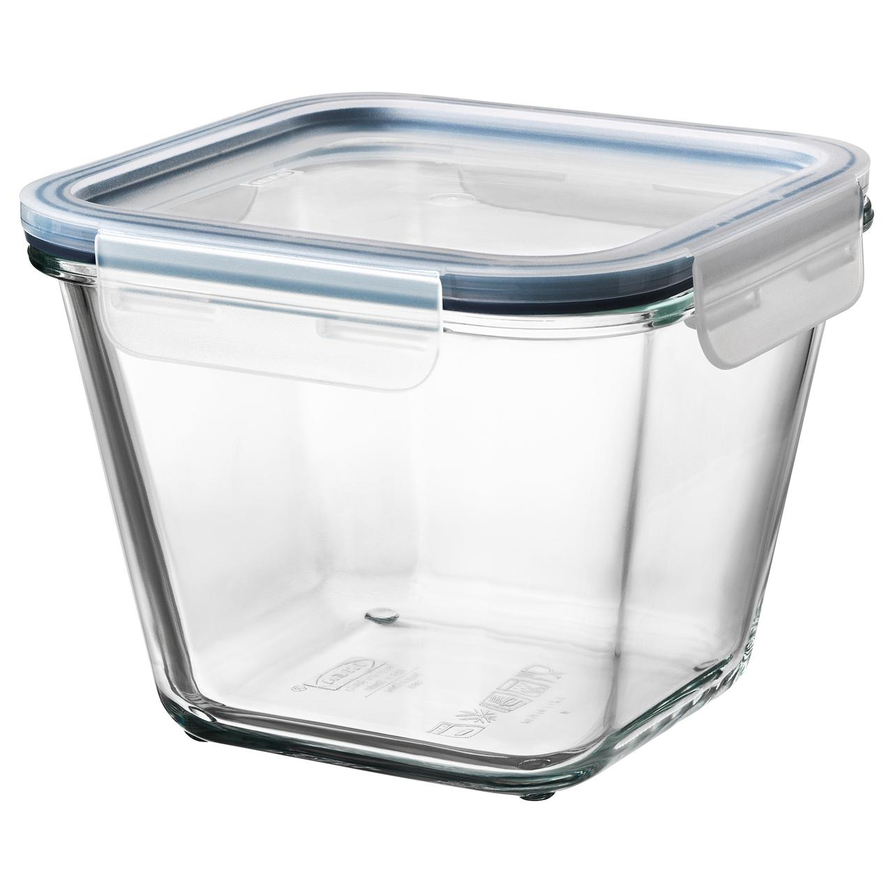 """IKEA """"ИКЕА/365+"""" Контейнер для продуктов с крышкой, четырехугольной формы стекло, стекло пластик, 1,2 л, фото 1"""