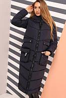 Длинное зимнее пальто свободного кроя, фото 1