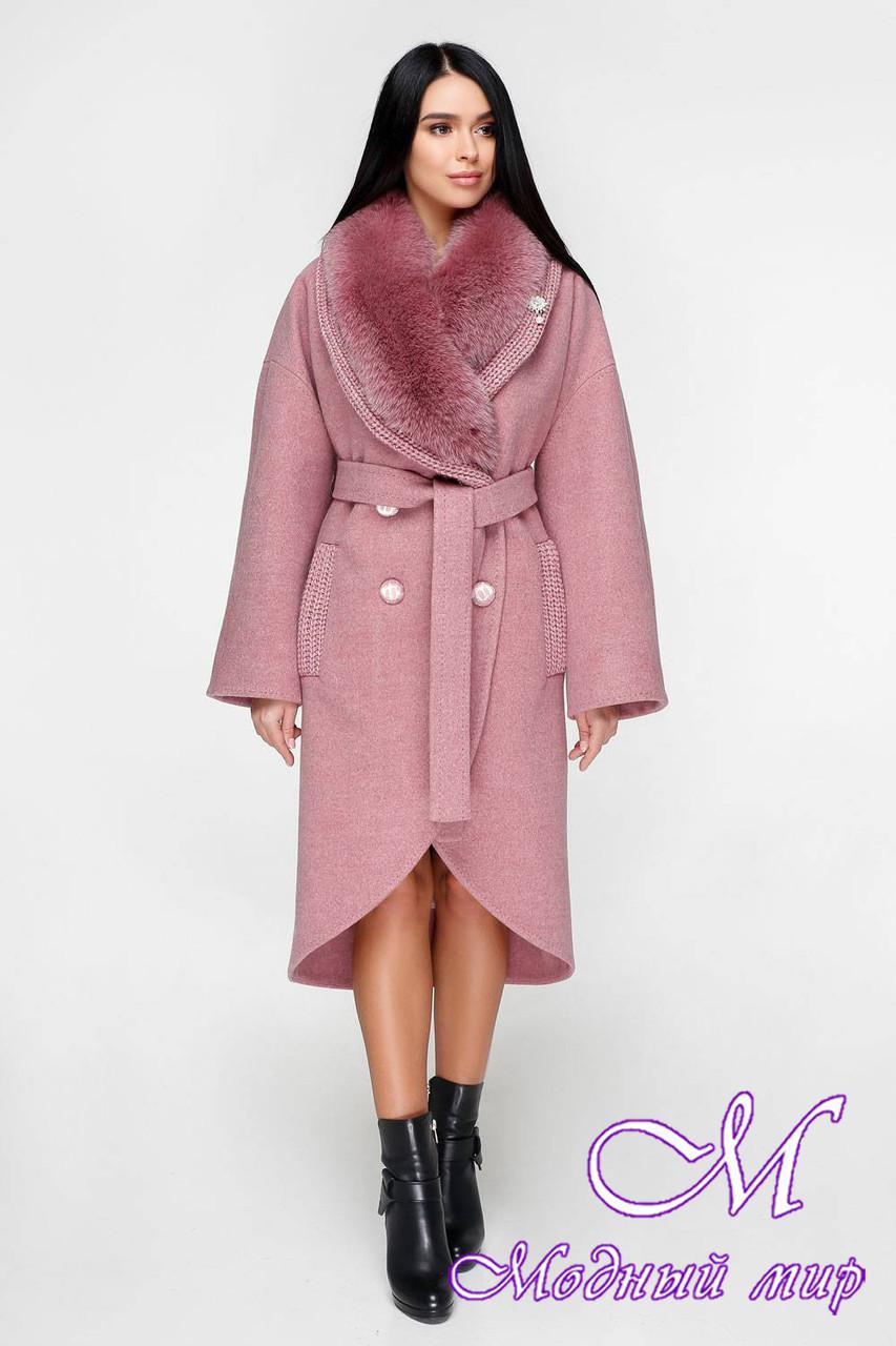 Зимнее пальто женское с большим мехом (р. 44-54) арт. 1089 Тон 170