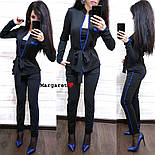 Женский стильный костюм-тройка: жакет, брюки с лампасами и пояс (5 цветов), фото 9