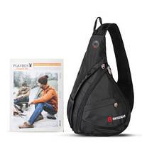 Сумка-рюкзак SwissGear Sling (Слинг) через плечо черная с выходом для наушников