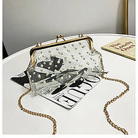 Прозрачная сумочка с жемчугом светлый, фото 1