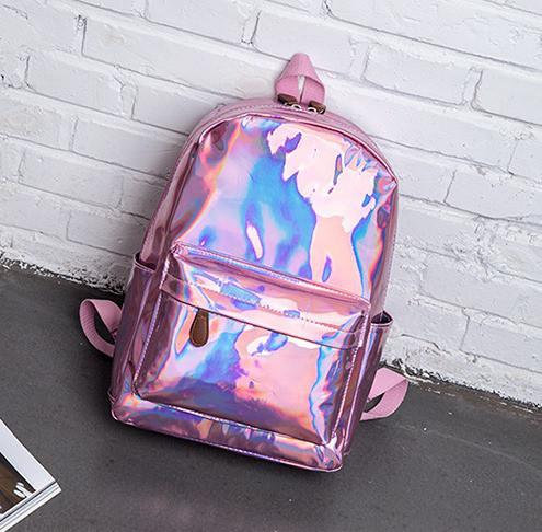 Рюкзак голографический среднего размера розовый