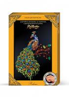 """Картина-мозайка из пайеток в декорированной рамке """"Павлин"""""""