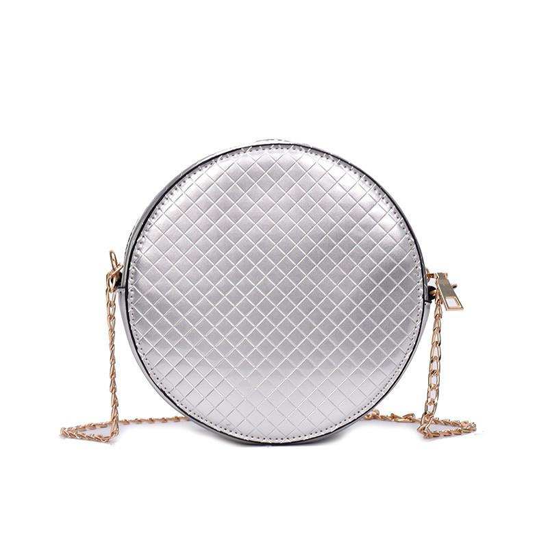 Сумка кроссбоди лаковая круглая серебро