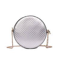 Сумка кроссбоди лаковая круглая серебро, фото 1