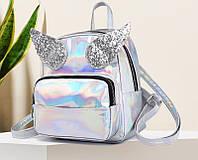 Голограммный рюкзак с крыльями серебристый, фото 1