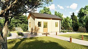 Дом деревянный двухуровневый с мансардой из бруса 5,4х3,0 м. Кредитование строительства деревянных домов