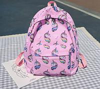 Рюкзак с единорогами розовый, фото 1