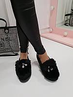 Меховые балетки черные замшевые код 22062, фото 1
