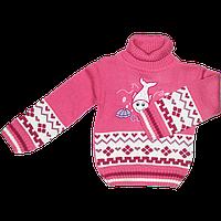 Детский свитер под горло с аппликацией рыбки, 70% акрил, 30% шерсть, Турция, ТМ Ромашка, р. 80, 86, 92, 98 92 Розовый