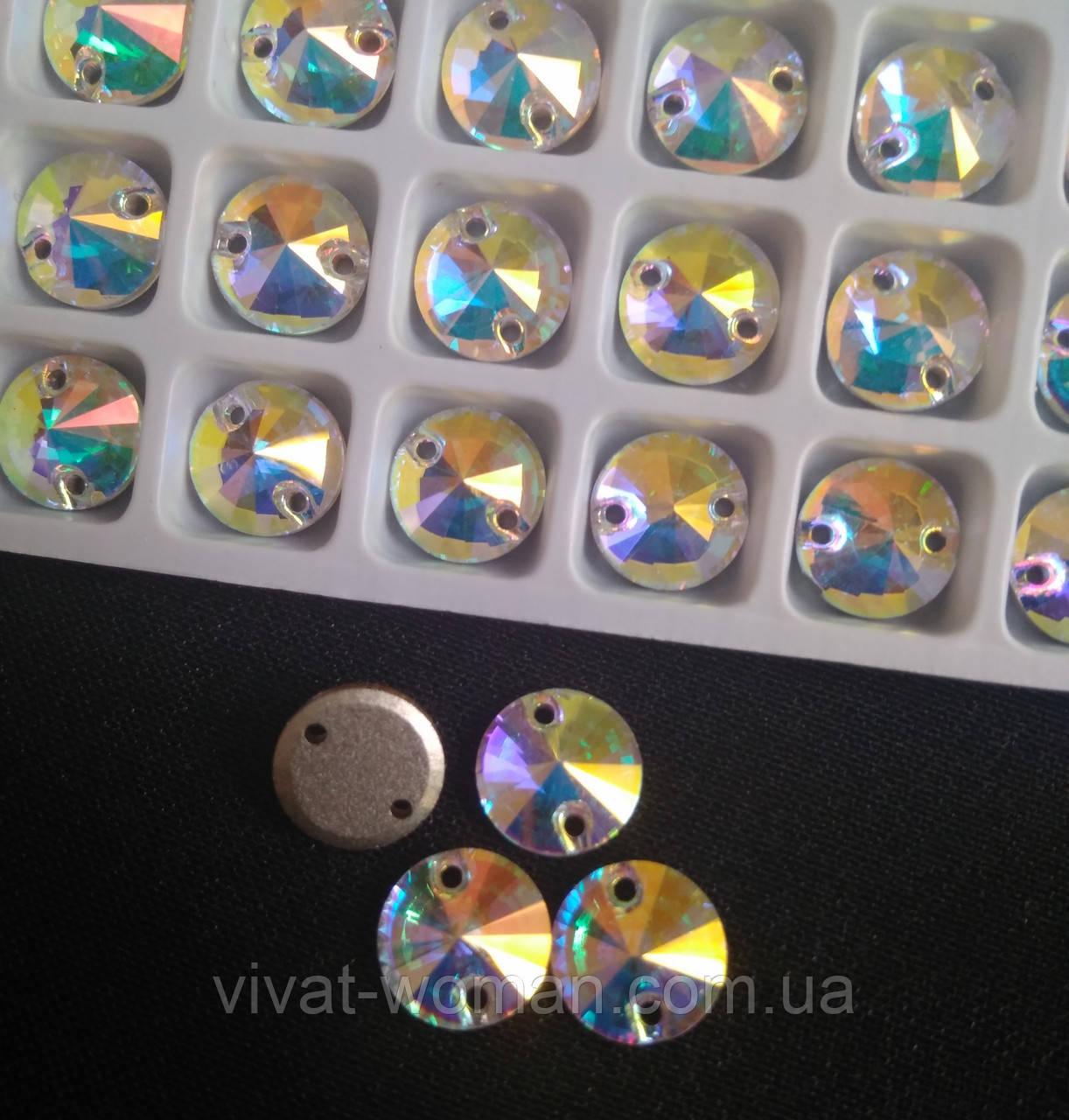 Стразы пришивные Копия Сваровски, Риволи (круг) d 14 мм Crystal AB, стекло