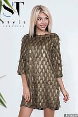 Стильне коктейльне плаття вільний фасон трапеція чорний/зелений розмір 42-44 46-48, фото 2