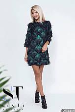 Стильне коктейльне плаття вільний фасон трапеція чорний/зелений розмір 42-44 46-48, фото 3