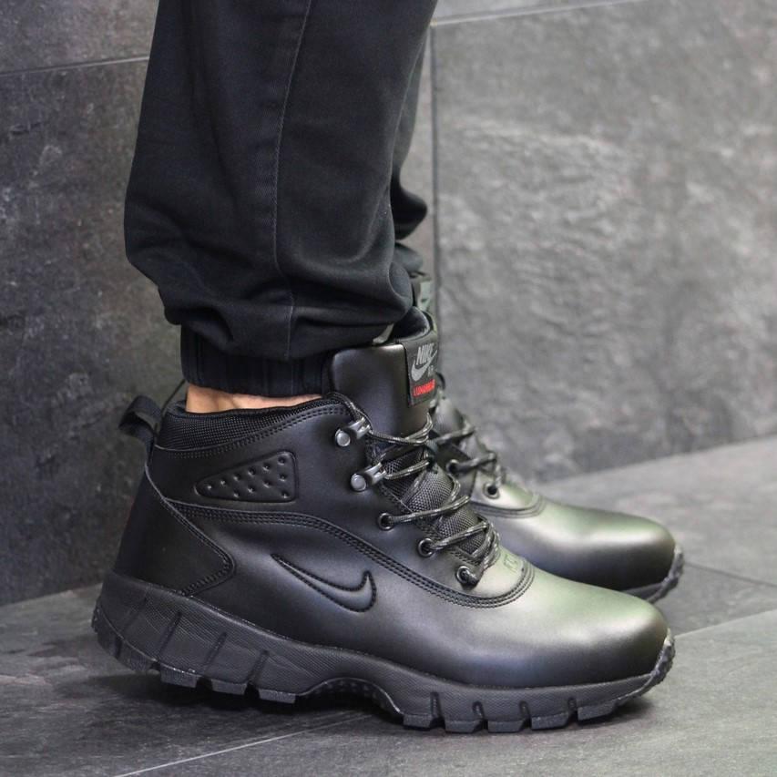Nike air lunarridge winter black   (зимние с мехом) (в стиле nike)