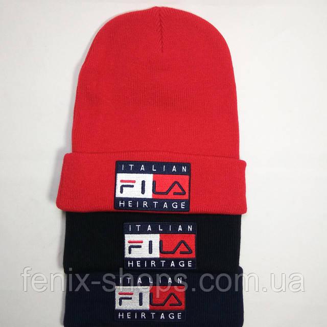 Описание Шапка FILA чёрная с отворотом (Фила). Больше выбора шапок у нас на  сайте