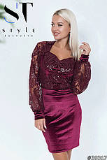 Комбінована жіноча коктельна сукня велюр з паєтками марсала розмір 42 44 46, фото 2