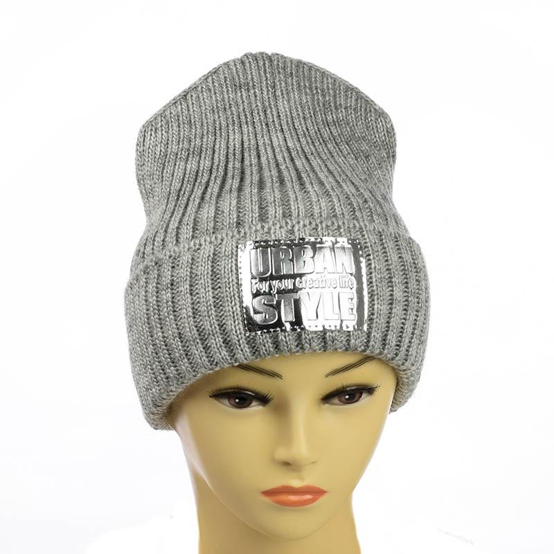 """Молодіжна шапка """"Urban style"""" світло-сірий"""