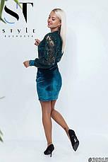 Комбінована жіноча коктельна сукня велюр з паєтками смарагд розмір 42 44 46, фото 2