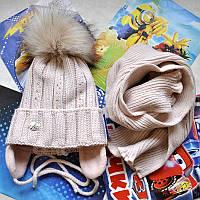 Зимний комлект (шапка и шарф) для девочки Agbo (Польша).
