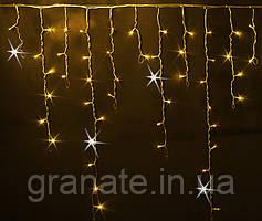 """Светодиодная Гирлянда """"Бахрома"""" 120 LED, цвет: желтый,  3x0.7 м белый провод"""