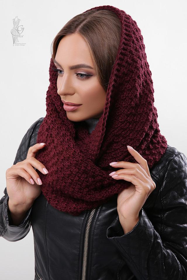 Цвет марсала Вязаного шарфа Снуд Корни