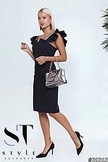 Облягаюче жіноче коктельне плаття з креп-костюма чорний розмір 42 44 46, фото 2