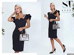 Облягаюче жіноче коктельне плаття з креп-костюма чорний розмір 42 44 46, фото 3