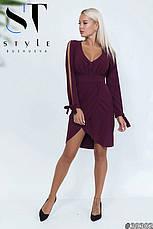 Приголомшливе плаття оригінальністю крою з глибоким декольте марсала розмір 42-44 44-46, фото 3