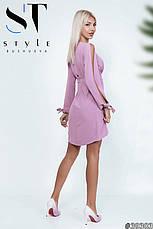 Приголомшливе плаття оригінальністю крою з глибоким декольте Попелясто-лавандовий розмір 42-44 44-46, фото 3