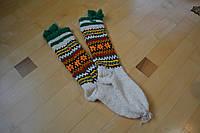 Вовняні в'язані шкарпетки і гольфи з кутасиками