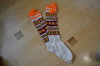 Шерстяные вязаные носки гольфы с кутасиками