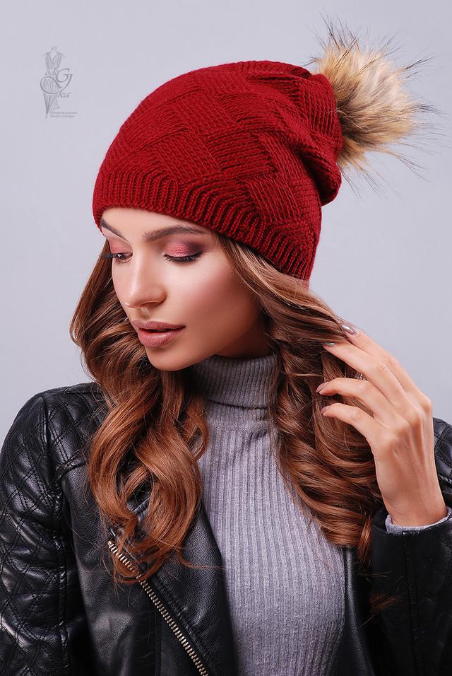 Цвет бордо Вязаных женских шапок Нана