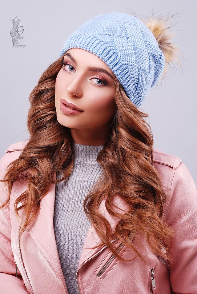 Цвет голубой Вязаных женских шапок Нана
