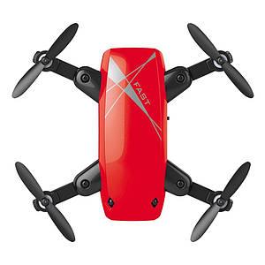 S9 Micro складной радиоуправляемый дрон квадрокоптер с пультом управления. Цвет красный
