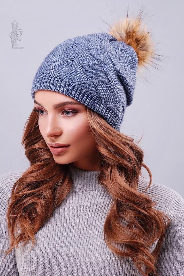 Цвет джинс Вязаных женских шапок Нана