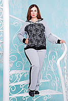 Donna-M Костюм спортивный  с гипюром НАОМИ серый , фото 1