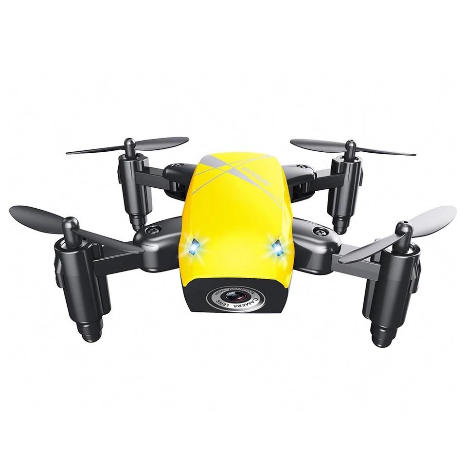 S9 Micro складной радиоуправляемый дрон квадрокоптер с пультом управления. Цвет желтый