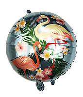 Шар фольгированный круглый Фламинго на голубом (Китай)