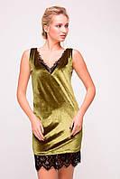 Donna-M Бархатное платье с кружевом BLIK желто-зеленое , фото 1