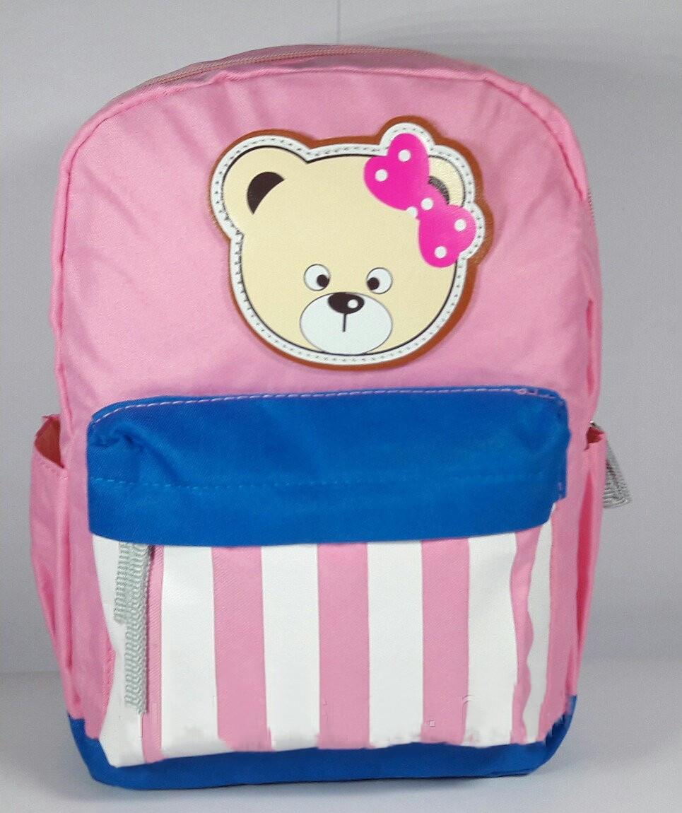Рюкзак для девочки Мишка текстиль розовый