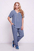 Donna-M Летний брючный костюм ДОННА синий , фото 1