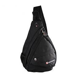 Сумка-рюкзак на одно плечо Swissgear Bag Wenger, свисгир.Слинг, sling. Черная