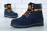 """Зимние ботинки на меху Caterpillar """"Blue"""" (Синие) (реплика А+++ ), фото 1"""