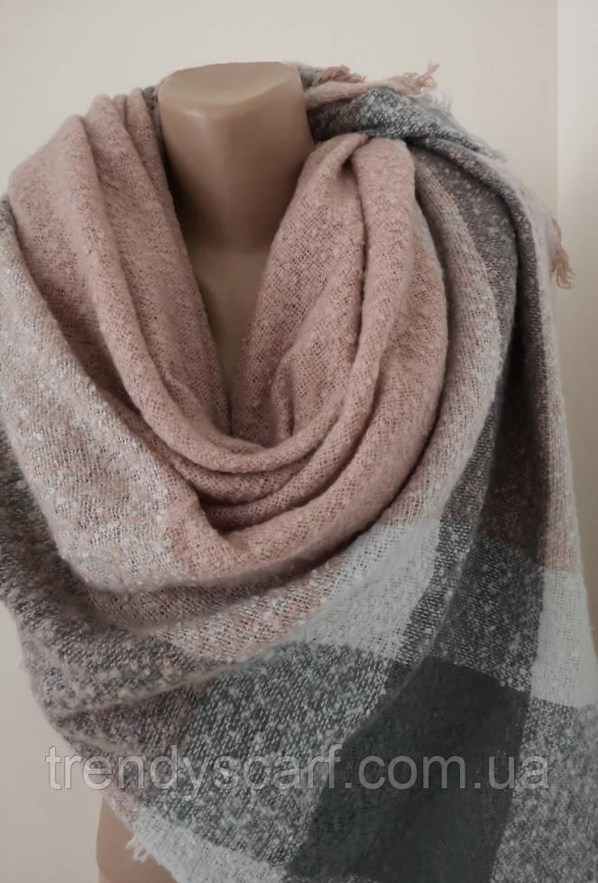 Женский платок плед Розовый пудра серый белый. Шерсть вискоза 130/130