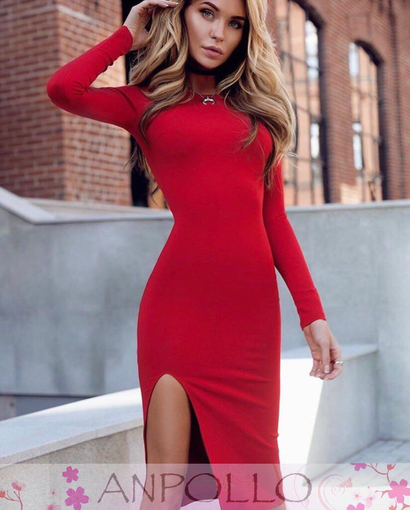 Шикарное платье с разрезом, размер единый S/M