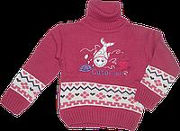 Детский свитер под горло с аппликацией рыбки, 70% акрил, 30% шерсть, Турция, ТМ Ромашка, р. 80, 86, 92, 98 86 Малиновый