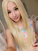 Красивый парик, без челки,длинные прямые волосы блонд
