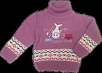 Детский свитер под горло с аппликацией рыбки, 70% акрил, 30% шерсть, Турция, ТМ Ромашка, р. 80, 86, 92, 98 92 Сиреневый