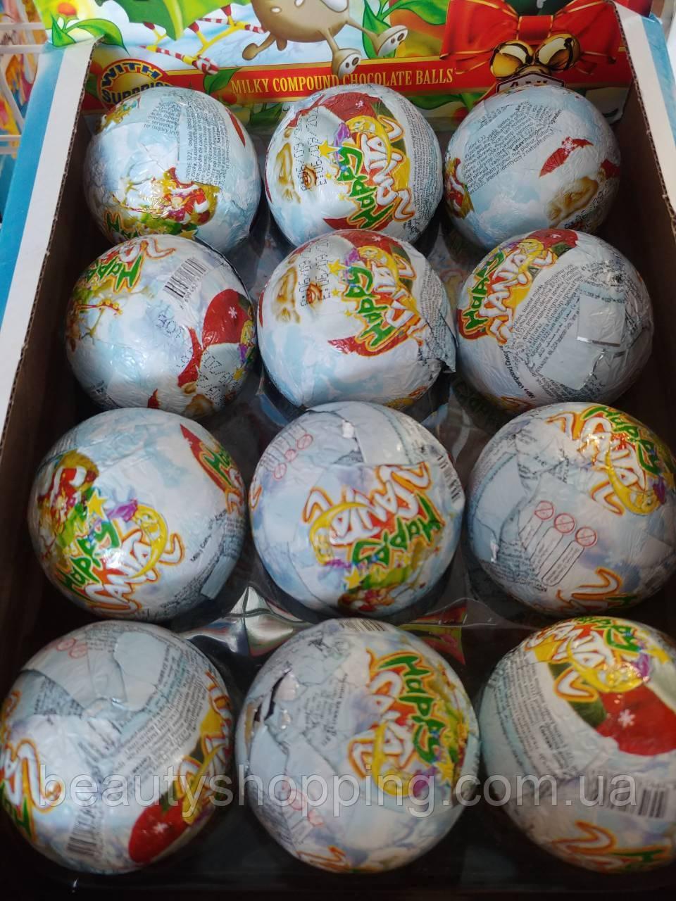 Santa chocolate suprise toys шоколадный мяч Санта Клаус с сюрпризом 24шт 85 гр ANL Gida Турция